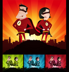 cartoon couple of super heroes set vector image