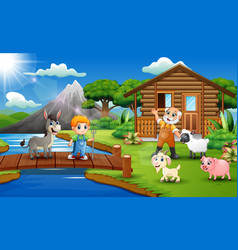 cartoon of farmer activity in the beautiful park vector image