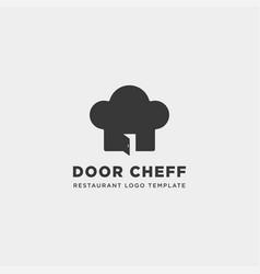 Chef door restaurant food store simple flat logo vector