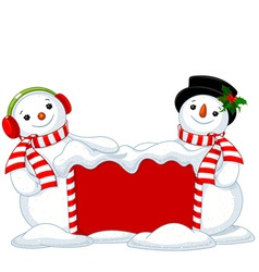 Christmas board and two Snowmen vector image