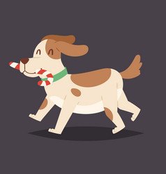 christmas dog cute and candy cartoon puppy vector image