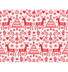 Christmas folk art seamless folk pattern vector