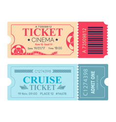 cinema ticket cruise coupon vector image