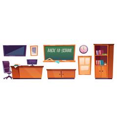 classroom furniture class interior cartoon stuff vector image