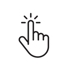clicking finger icon mouse clicking pointer vector image
