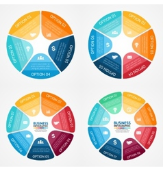 Color circle infographics set Template for diagram vector