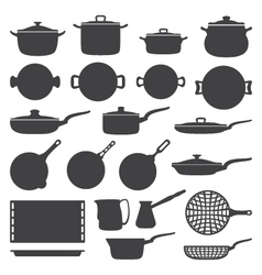Cookware silhouette set vector
