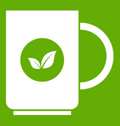 cup of tea icon green vector image