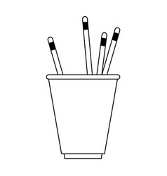 Cup with pencils stationery related icon image vector