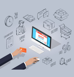 customer buying products online placing order vector image
