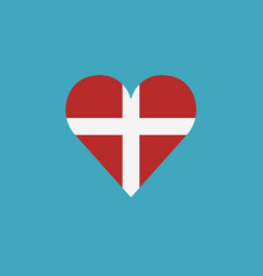 denmark flag icon in a heart shape in flat design vector image