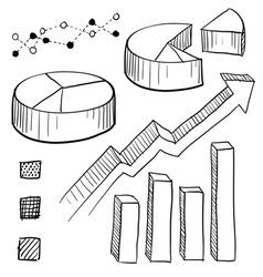doodle graphs charts vector image