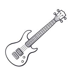 doodle rock electro or bass guitar vector image