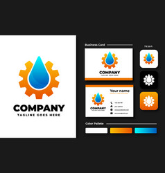 drop water and gear logo design inspiration vector image