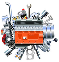 Engine with truck spares vector
