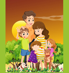 family with pets in sunset scene vector image
