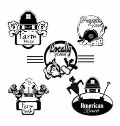 Farm fresh labels black set vector image