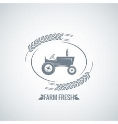 Farm fresh tractor design background vector