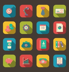 flat icons of web design objects business and vector image vector image