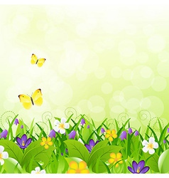 Flowers With Grass With Butterfly And Bokeh vector