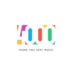four thousand subscribers baner colorful logo vector image