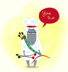 fun cartoon warlike sheep archer kids vector image
