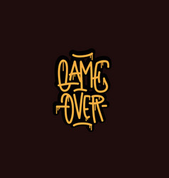 game over hand lettering calligraphic vector image