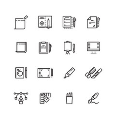 graphic design and writing tools line icons set vector image