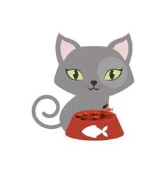 gray small cat green eyes plate food fish print vector image
