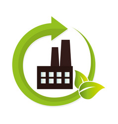 green factory building icon vector image