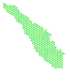 Green hexagon sumatra island map vector