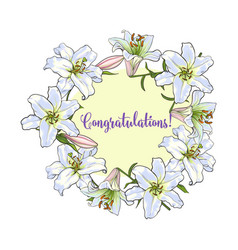 Greeting card template with round frame of white vector