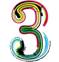 Grunge colorful font Number 3 vector image
