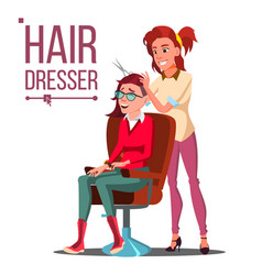 hairdresser and woman beauty salon vector image