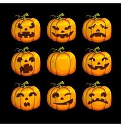 Halloween scary pumpkins set of different vector image