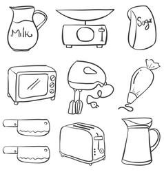 Hand draw kitchen equipment doodles vector