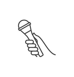 hand with microphone outline icon or vector image