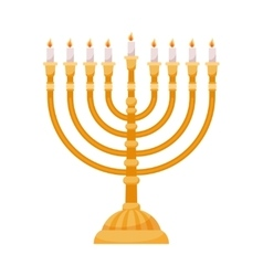 Hanukkah menorah isolated on white vector