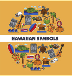 hawaiian symbols traveling tropical island hawaii vector image