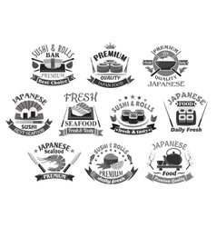 Icons for japanese sushi premium restaurant vector