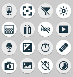 Image icons set with wb iridescent hdr off vector
