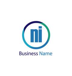 initial letter ni logo template design vector image