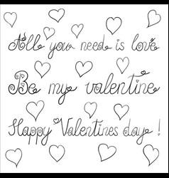 ink valentine day lettering vector image