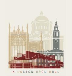 kingston upon hull skyline poster vector image