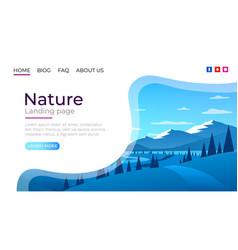 Landing page screen nature landscape template vector