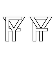 Logo sign fy yf icon sign interlaced letters y f vector