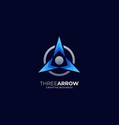 logo three arrow gradient colorful style vector image