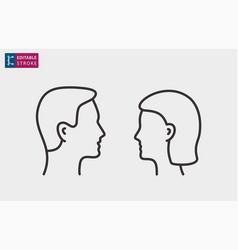man and woman profile line icons editable vector image