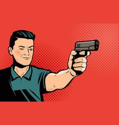 Man shoots pistol retro comic pop art vector