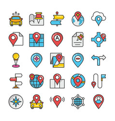 maps and navigation colored icons set 6 vector image